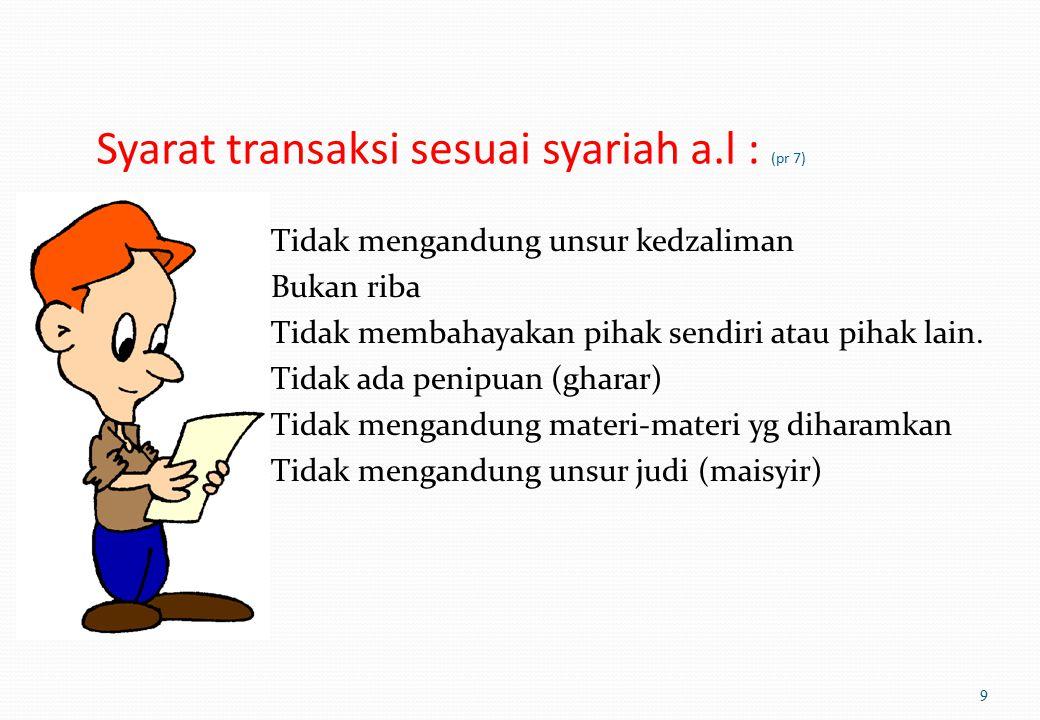 Syarat transaksi sesuai syariah a.l : (pr 7) Tidak mengandung unsur kedzaliman Bukan riba Tidak membahayakan pihak sendiri atau pihak lain.