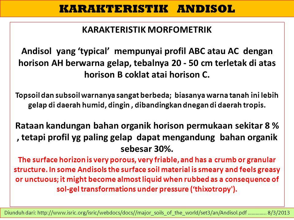 KARAKTERISTIK ANDISOL KARAKTERISTIK MORFOMETRIK Andisol yang 'typical' mempunyai profil ABC atau AC dengan horison AH berwarna gelap, tebalnya 20 - 50