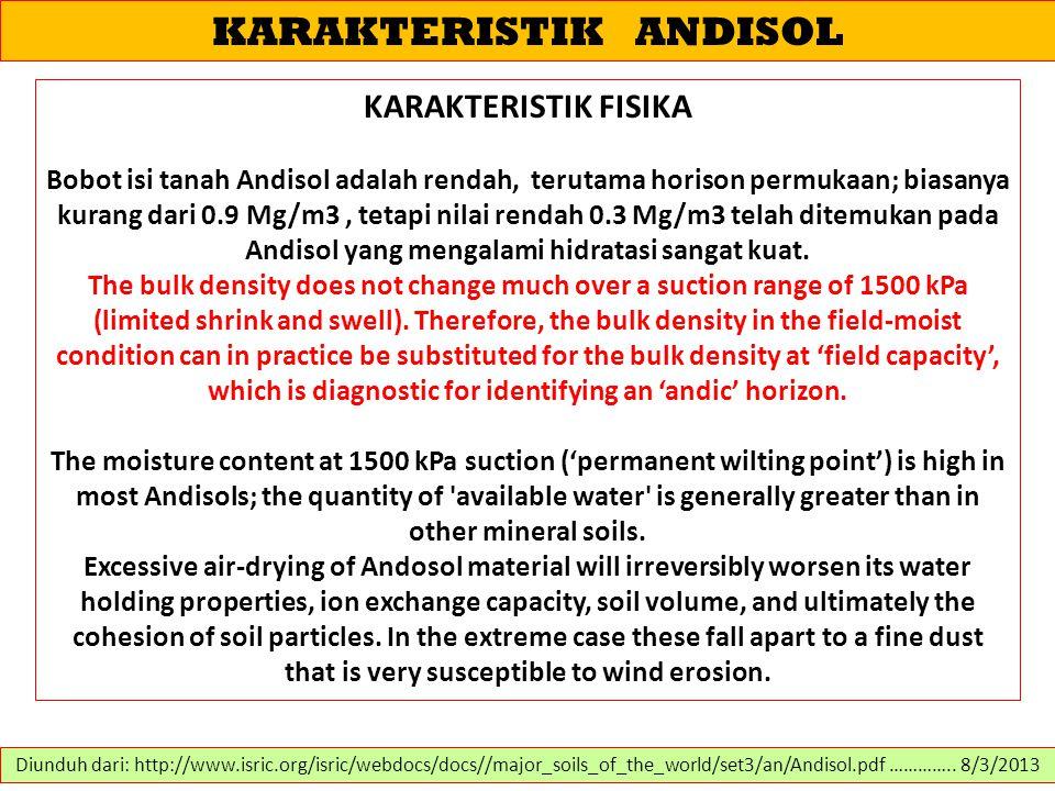 KARAKTERISTIK ANDISOL KARAKTERISTIK FISIKA Bobot isi tanah Andisol adalah rendah, terutama horison permukaan; biasanya kurang dari 0.9 Mg/m3, tetapi n