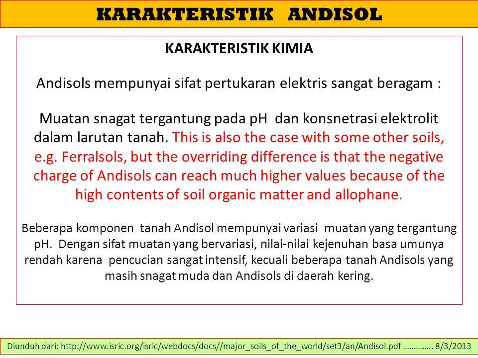KARAKTERISTIK ANDISOL KARAKTERISTIK KIMIA Andisols mempunyai sifat pertukaran elektris sangat beragam : Muatan snagat tergantung pada pH dan konsnetra