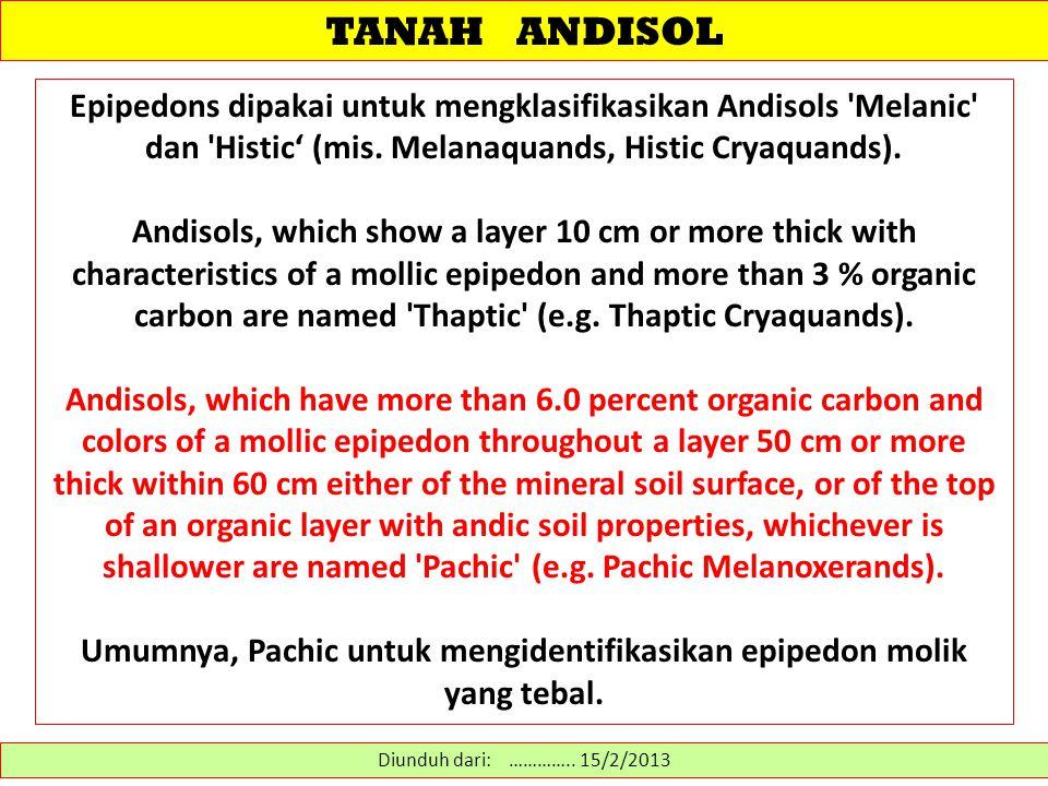 TANAH ANDISOL Epipedons dipakai untuk mengklasifikasikan Andisols 'Melanic' dan 'Histic' (mis. Melanaquands, Histic Cryaquands). Andisols, which show