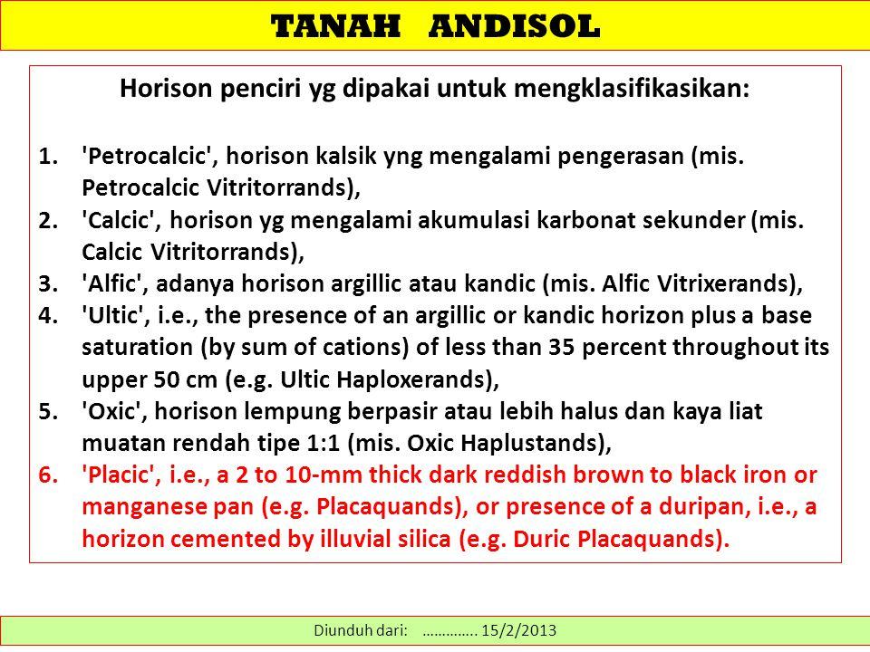 TANAH ANDISOL Horison penciri yg dipakai untuk mengklasifikasikan: 1.'Petrocalcic', horison kalsik yng mengalami pengerasan (mis. Petrocalcic Vitritor