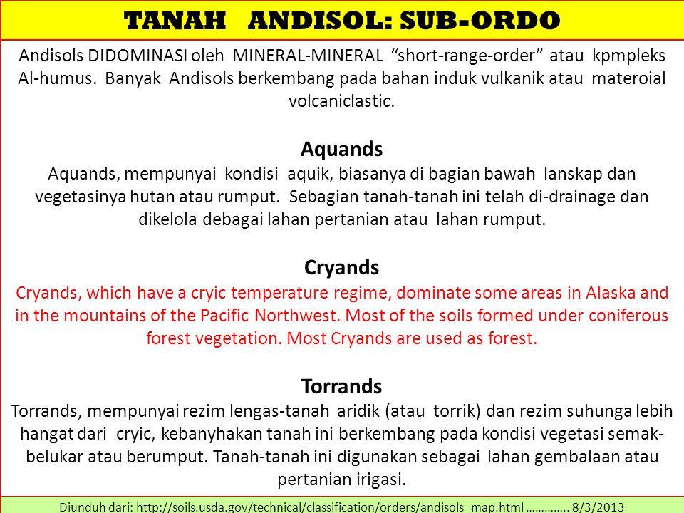 """TANAH ANDISOL: SUB-ORDO Andisols DIDOMINASI oleh MINERAL-MINERAL """"short-range-order"""" atau kpmpleks Al-humus. Banyak Andisols berkembang pada bahan ind"""