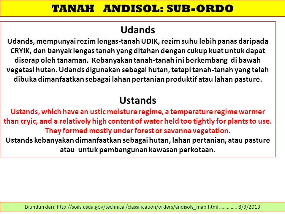 TANAH ANDISOL: SUB-ORDO Udands Udands, mempunyai rezim lengas-tanah UDIK, rezim suhu lebih panas daripada CRYIK, dan banyak lengas tanah yang ditahan