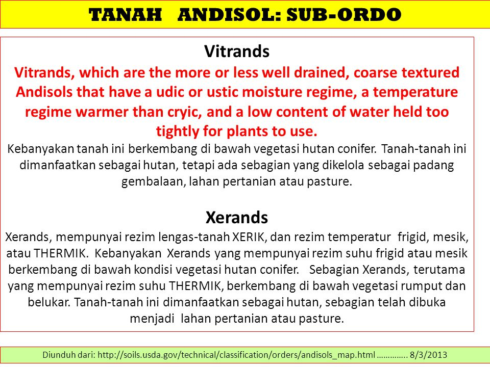 TANAH ANDISOL: SUB-ORDO Vitrands Vitrands, which are the more or less well drained, coarse textured Andisols that have a udic or ustic moisture regime