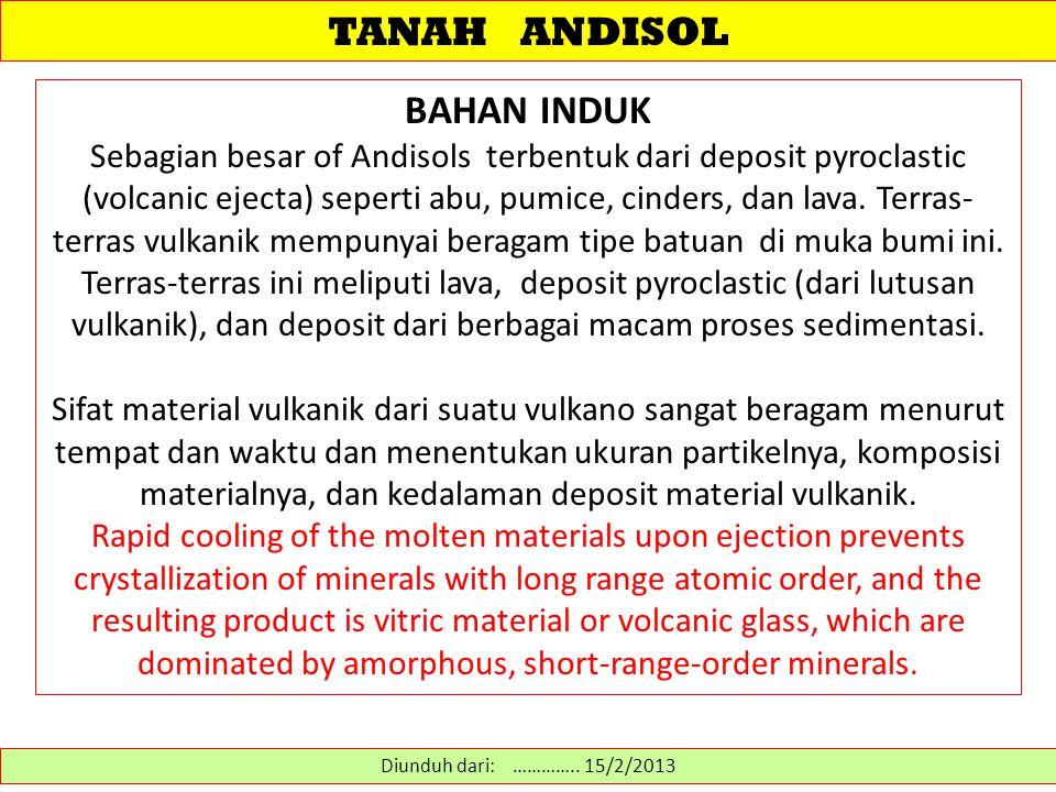 TANAH ANDISOL BAHAN INDUK Sebagian besar of Andisols terbentuk dari deposit pyroclastic (volcanic ejecta) seperti abu, pumice, cinders, dan lava. Terr