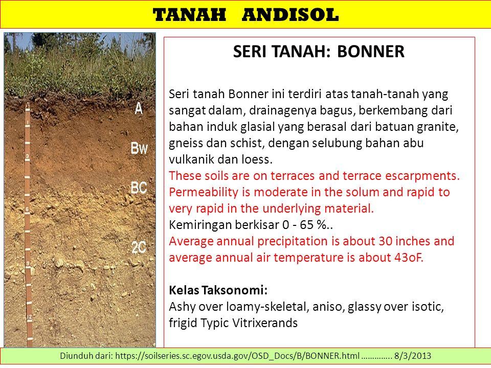 TANAH ANDISOL SERI TANAH: BONNER Seri tanah Bonner ini terdiri atas tanah-tanah yang sangat dalam, drainagenya bagus, berkembang dari bahan induk glas