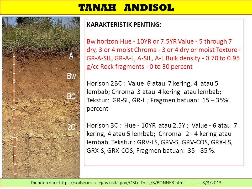 TANAH ANDISOL KARAKTERISTIK PENTING: Bw horizon Hue - 10YR or 7.5YR Value - 5 through 7 dry, 3 or 4 moist Chroma - 3 or 4 dry or moist Texture - GR-A-