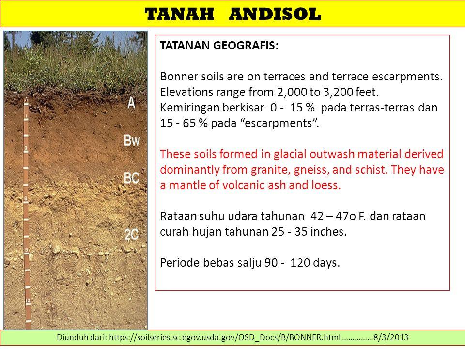 TANAH ANDISOL TATANAN GEOGRAFIS: Bonner soils are on terraces and terrace escarpments. Elevations range from 2,000 to 3,200 feet. Kemiringan berkisar