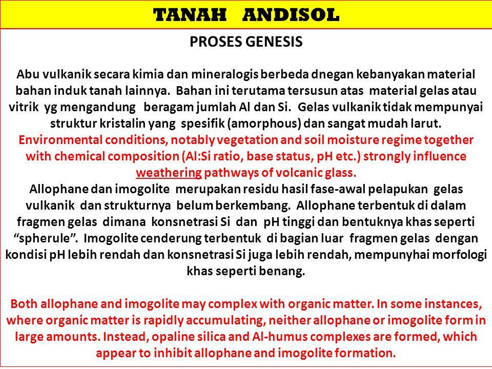 TANAH ANDISOL PROSES GENESIS Abu vulkanik secara kimia dan mineralogis berbeda dnegan kebanyakan material bahan induk tanah lainnya. Bahan ini terutam