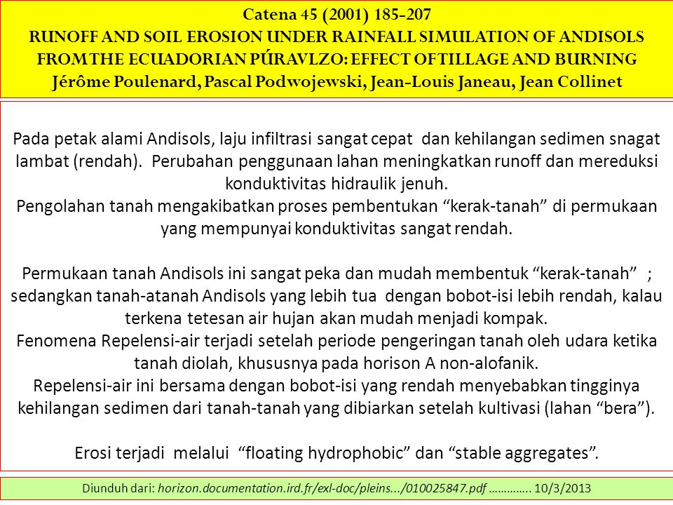 Catena 45 (2001) 185-207 RUNOFF AND SOIL EROSION UNDER RAINFALL SIMULATION OF ANDISOLS FROM THE ECUADORIAN PÚRAVLZO: EFFECT OF TILLAGE AND BURNING Jér