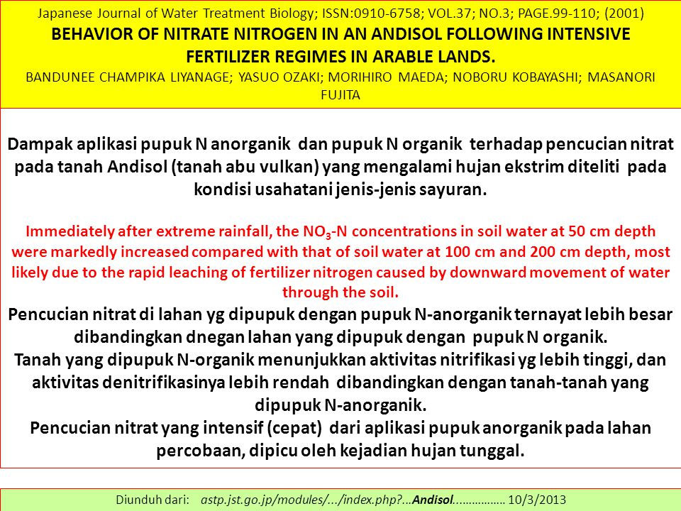 Japanese Journal of Water Treatment Biology; ISSN:0910-6758; VOL.37; NO.3; PAGE.99-110; (2001) BEHAVIOR OF NITRATE NITROGEN IN AN ANDISOL FOLLOWING IN