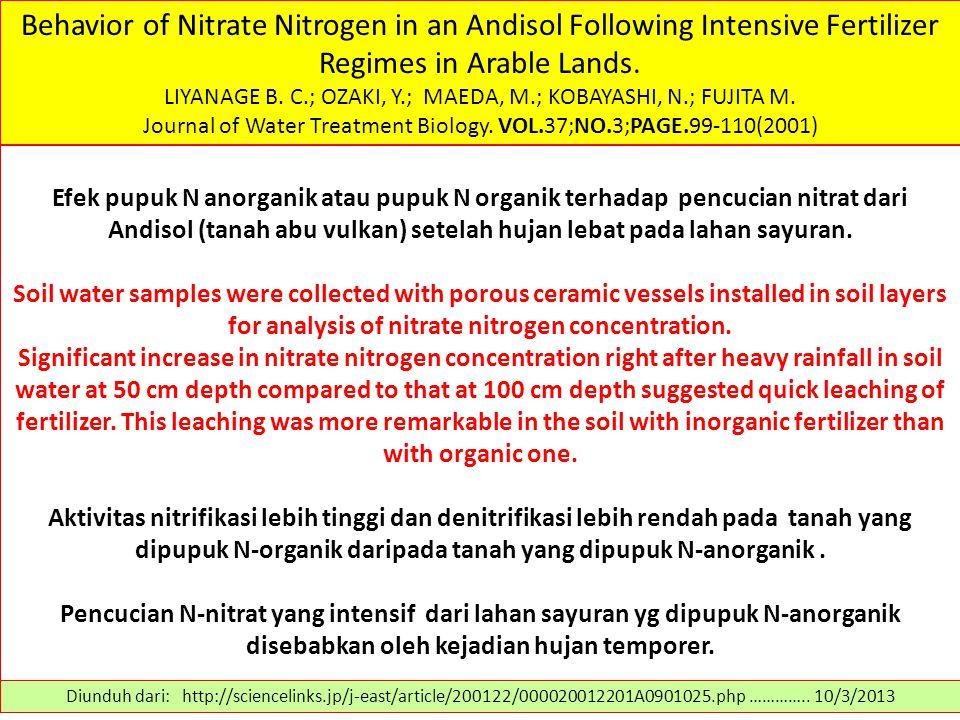 Behavior of Nitrate Nitrogen in an Andisol Following Intensive Fertilizer Regimes in Arable Lands. LIYANAGE B. C.; OZAKI, Y.; MAEDA, M.; KOBAYASHI, N.