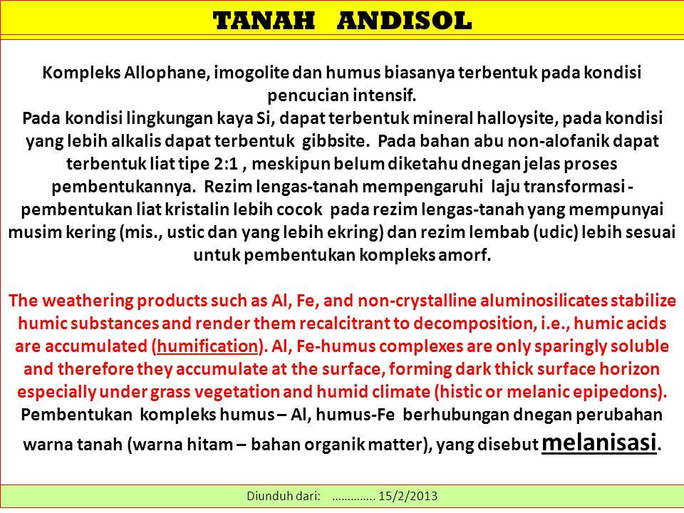 TANAH ANDISOL Kompleks Allophane, imogolite dan humus biasanya terbentuk pada kondisi pencucian intensif. Pada kondisi lingkungan kaya Si, dapat terbe
