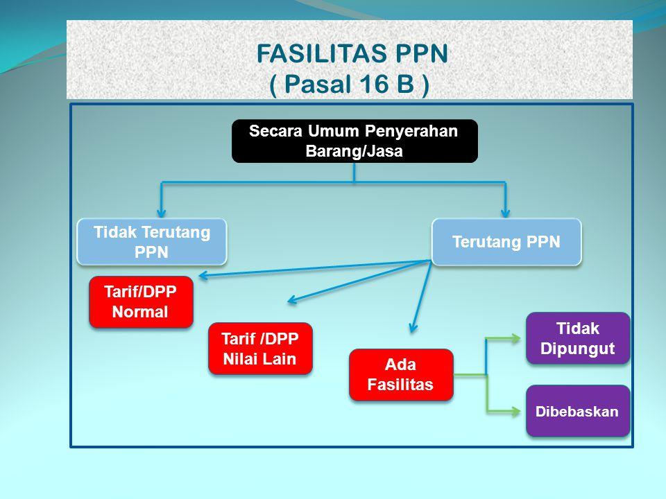 FASILITAS PPN ( Pasal 16 B ) Tarif/DPP Normal Tarif /DPP Nilai Lain Ada Fasilitas Tidak Dipungut Dibebaskan Tidak Terutang PPN Terutang PPN Secara Umu