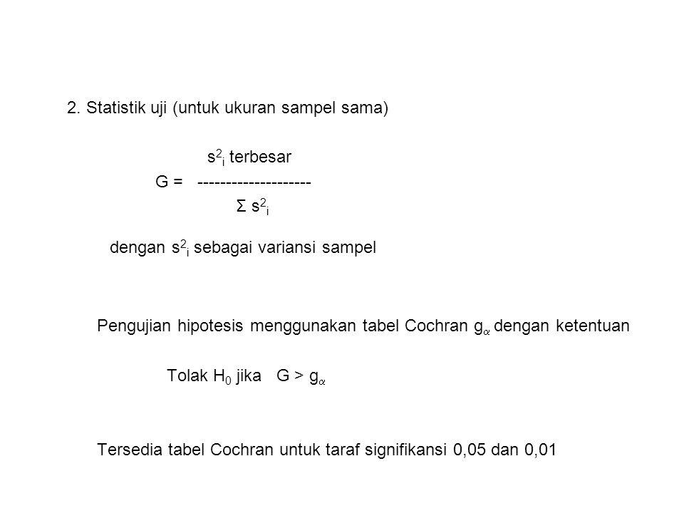 2. Statistik uji (untuk ukuran sampel sama) s 2 i terbesar G = -------------------- Σ s 2 i dengan s 2 i sebagai variansi sampel Pengujian hipotesis m