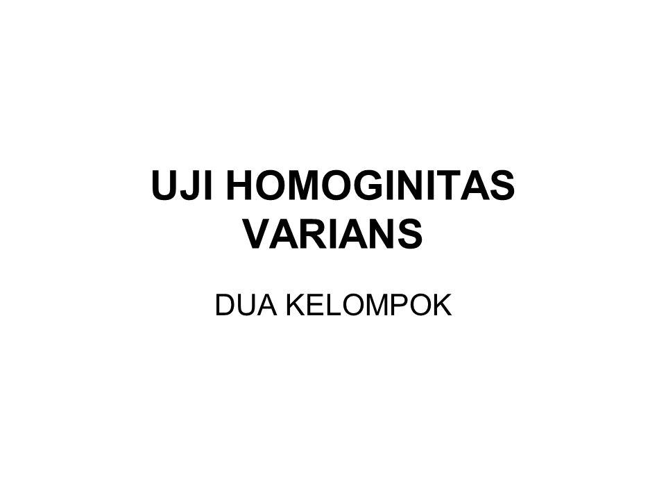 TUJUAN Untuk mengetahui apakah dua kelompok distribusi data memiliki varians yang homogin ataukah heterogin