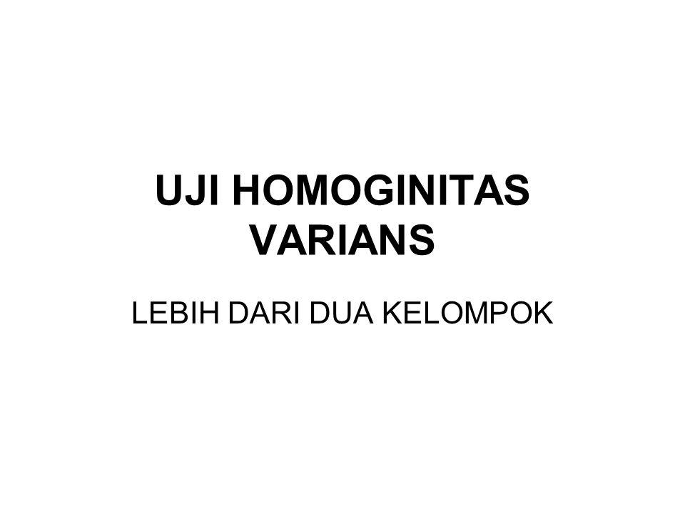 UJI HOMOGINITAS VARIANS LEBIH DARI DUA KELOMPOK