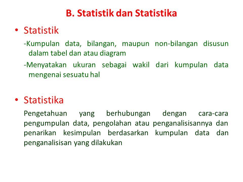 PENDAHULUAN A.Statistika dalam Kehidupan Sehari-hari – Statistika dipakai sebagai salah satu alat bantu dalam memahami gejala-gejala dalam penelitian