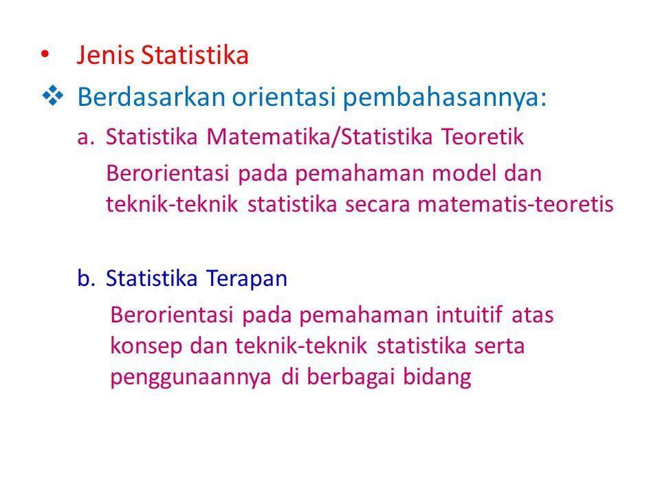 B. Statistik dan Statistika Statistik -Kumpulan data, bilangan, maupun non-bilangan disusun dalam tabel dan atau diagram -Menyatakan ukuran sebagai wa