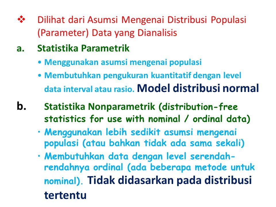  Berdasarkan Tahapan/Tujuan Analisis : a.Statistika Deskriptif Untuk Memperoleh gambaran (description) atau ukuran- ukuran tentang data yang ada di t
