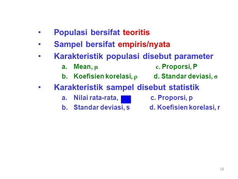 17 Populasi dan Sampel Populasi totalitas semua nilai yang mungkin, hasil menghitung ataupun pengukuran kuantitatif maupun kualitatif mengenai karakte
