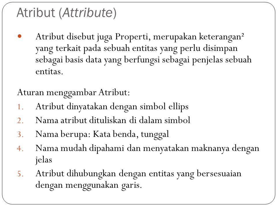 Atribut (Attribute) Atribut disebut juga Properti, merupakan keterangan² yang terkait pada sebuah entitas yang perlu disimpan sebagai basis data yang