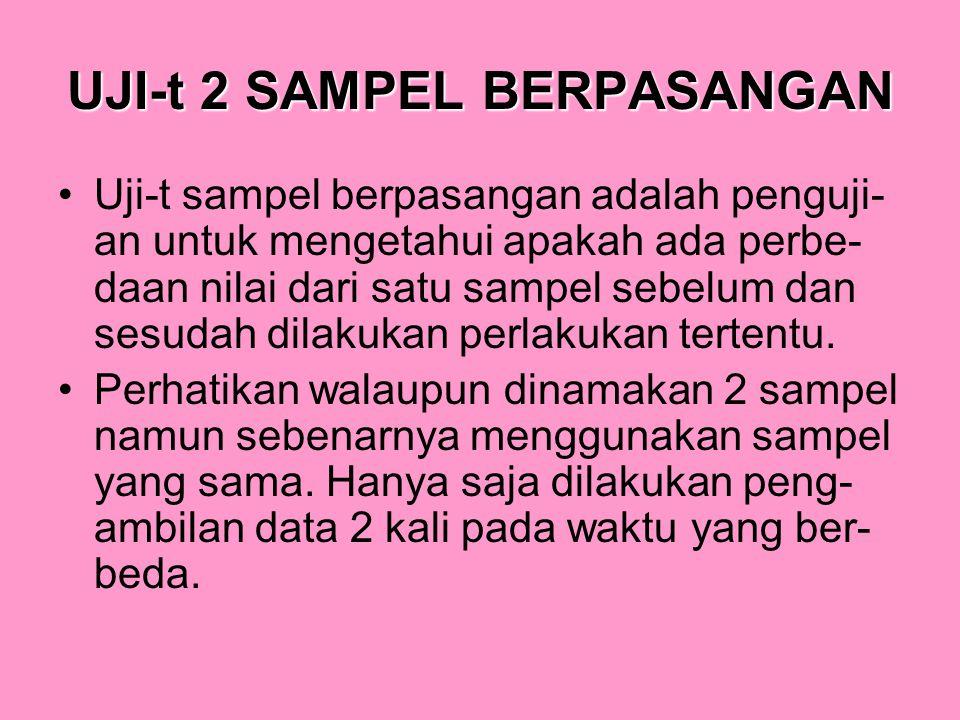 UJI-t 2 SAMPEL BERPASANGAN Uji-t sampel berpasangan adalah penguji- an untuk mengetahui apakah ada perbe- daan nilai dari satu sampel sebelum dan sesu