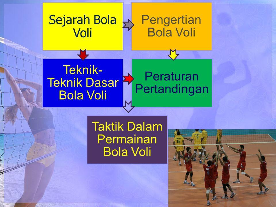Sejarah Bola Voli Pengertian Bola Voli Teknik- Teknik Dasar Bola Voli Peraturan Pertandingan Taktik Dalam Permainan Bola Voli