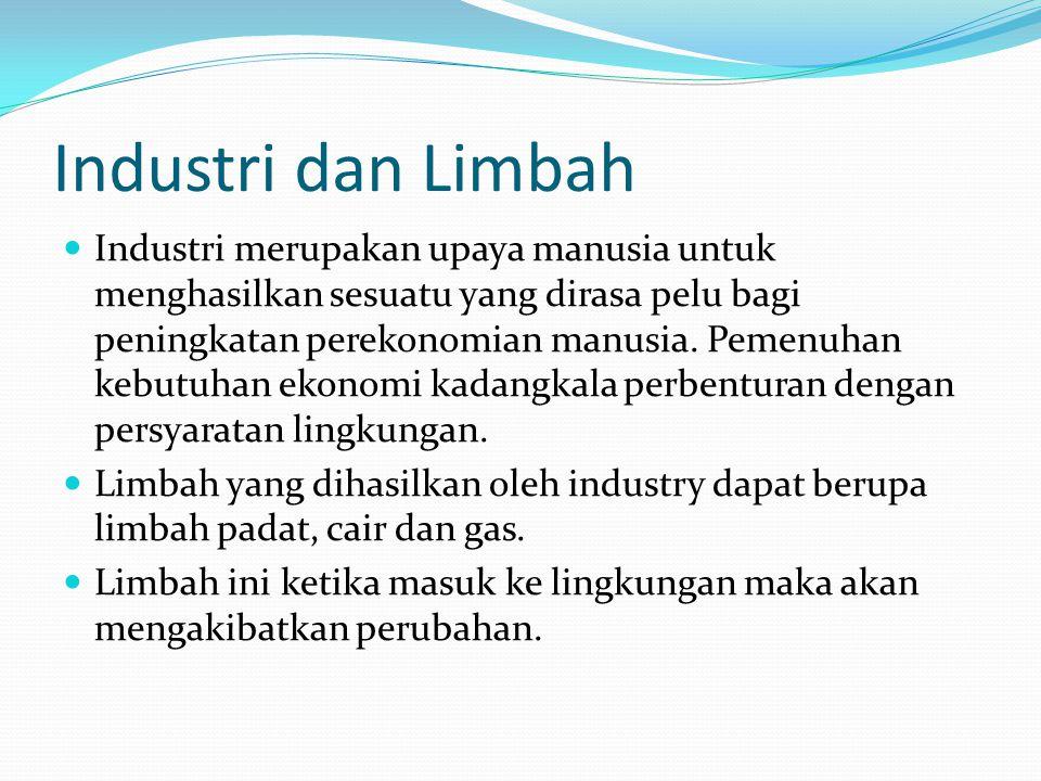 Industri dan Limbah Industri merupakan upaya manusia untuk menghasilkan sesuatu yang dirasa pelu bagi peningkatan perekonomian manusia.