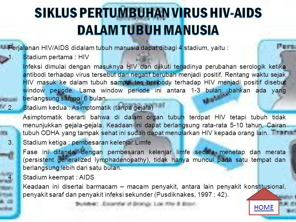 Perjalanan HIV/AIDS didalam tubuh manusia dapat dibagi 4 stadium, yaitu : 1.Stadium pertama : HIV Infeksi dimulai dengan masuknya HIV dan diikuti terj