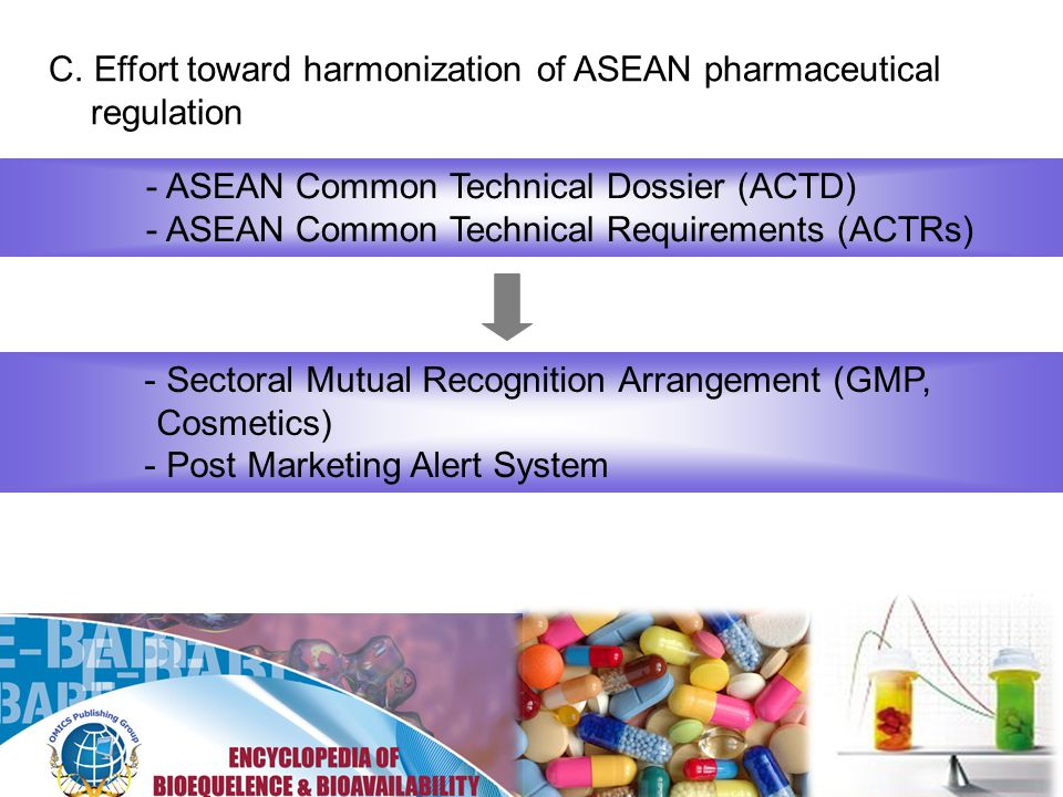 C. Effort toward harmonization of ASEAN pharmaceutical regulation - ASEAN Common Technical Dossier (ACTD) - ASEAN Common Technical Requirements (ACTRs