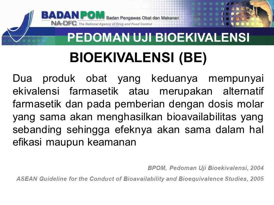 UJI BIOEKIVALENSI CANDESARTAN 16 MG Produk Pembanding : Blopress (PT Takeda Indonesia under licence from Takeda Pharmaceutical Company Limited, Osaka, Jepang) Desain : single dose, randomized, two periode, two sequence, cross over study Jumlah subyek : 20 subyek Kriteria Penerimaan : GMR 90% CI 80.00 – 120.00 % ParameterRata-rata rasio geometrik (%) CV intra subject (%) AUC 0-t105.81 (77.35-144.75) 50.31 AUC 0-inf102.02 (92.80-170.53) 48.86 Cmax118.29 (88.11-158.81) 47.30