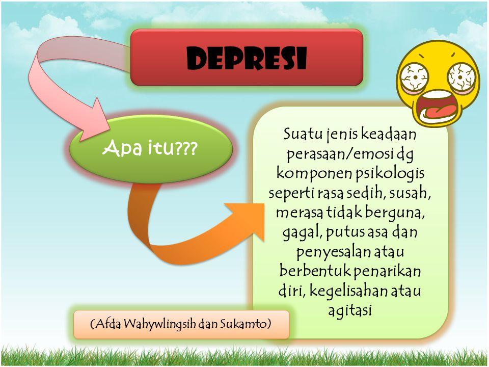 Suatu jenis keadaan perasaan/emosi dg komponen psikologis seperti rasa sedih, susah, merasa tidak berguna, gagal, putus asa dan penyesalan atau berben