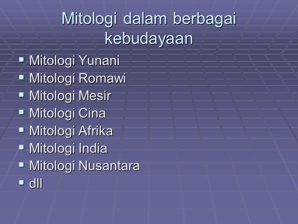 Mitologi dalam berbagai kebudayaan  Mitologi Yunani  Mitologi Romawi  Mitologi Mesir  Mitologi Cina  Mitologi Afrika  Mitologi India  Mitologi