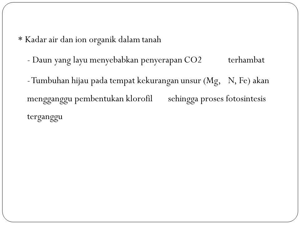 * Kadar air dan ion organik dalam tanah - Daun yang layu menyebabkan penyerapan CO2 terhambat - Tumbuhan hijau pada tempat kekurangan unsur (Mg, N, Fe