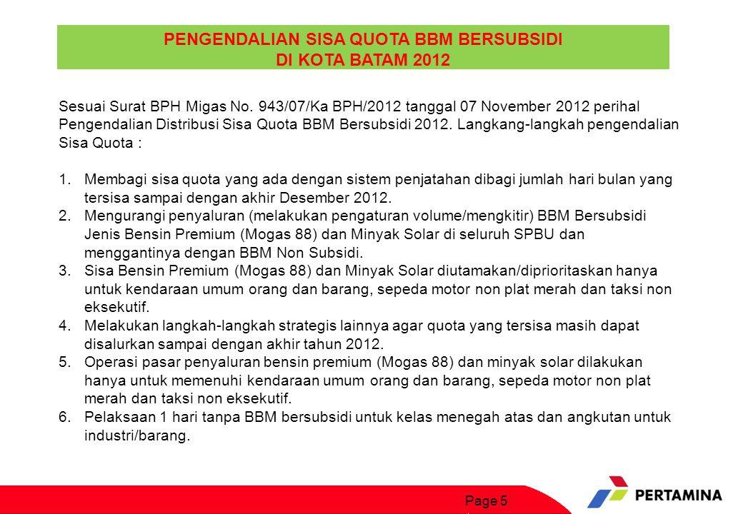 Page 5 PENGENDALIAN SISA QUOTA BBM BERSUBSIDI DI KOTA BATAM 2012 Sesuai Surat BPH Migas No. 943/07/Ka BPH/2012 tanggal 07 November 2012 perihal Pengen