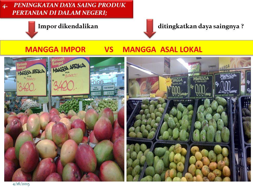 4/16/2015 MANGGA IMPOR VS MANGGA ASAL LOKAL 4. PENINGKATAN DAYA SAING PRODUK PERTANIAN DI DALAM NEGERI; Impor dikendalikan ditingkatkan daya saingnya