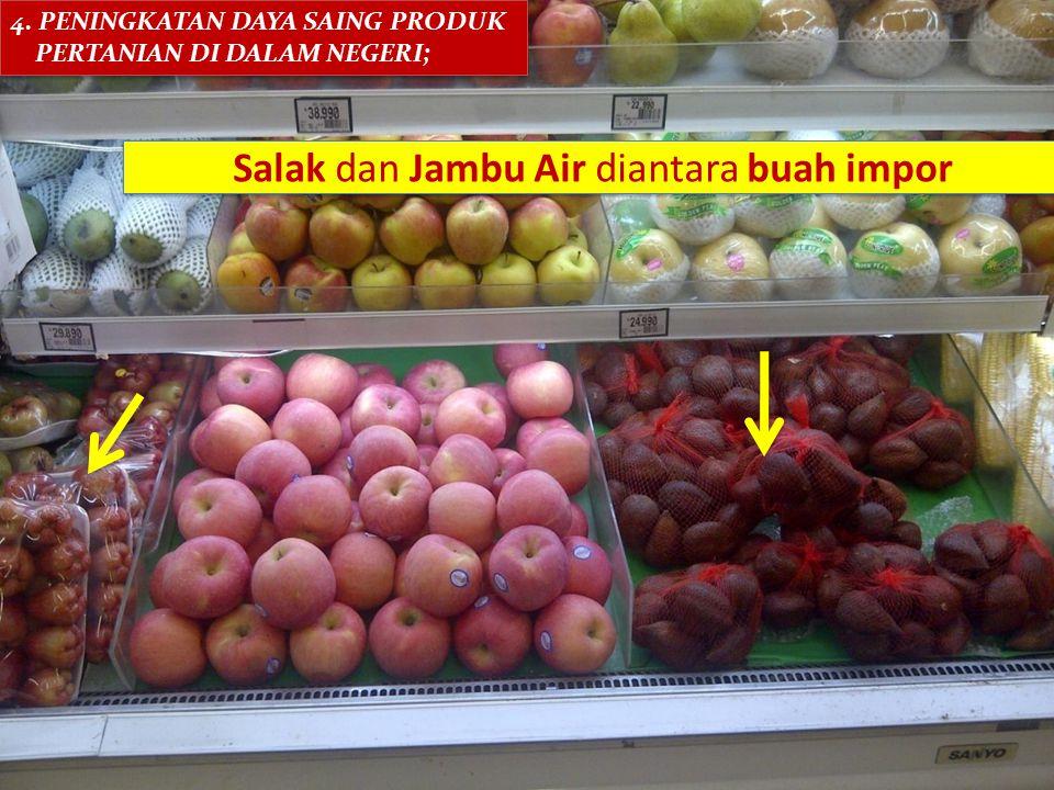 Salak dan Jambu Air diantara buah impor 4. PENINGKATAN DAYA SAING PRODUK PERTANIAN DI DALAM NEGERI; 4. PENINGKATAN DAYA SAING PRODUK PERTANIAN DI DALA