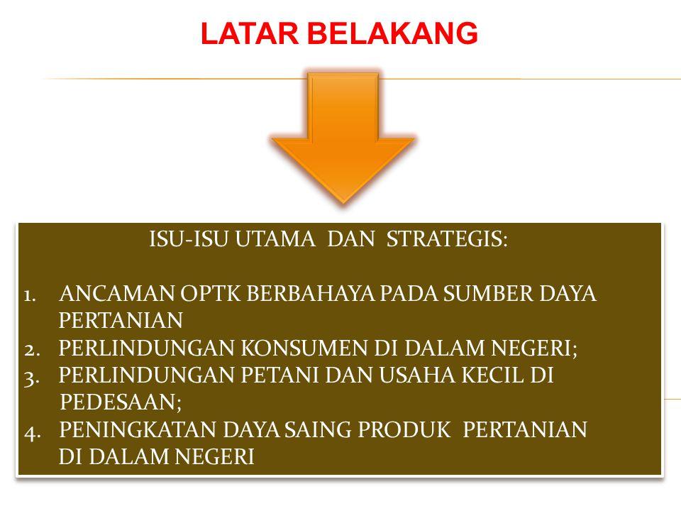 LATAR BELAKANG ISU-ISU UTAMA DAN STRATEGIS: 1. ANCAMAN OPTK BERBAHAYA PADA SUMBER DAYA PERTANIAN 2. PERLINDUNGAN KONSUMEN DI DALAM NEGERI; 3.PERLINDUN