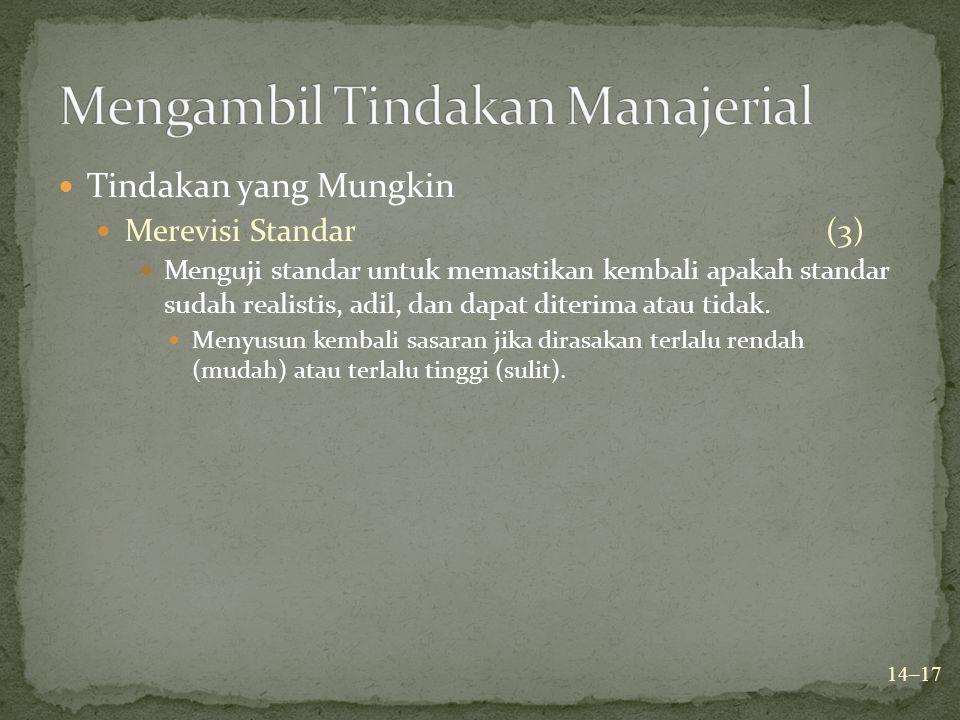 Tindakan yang Mungkin Merevisi Standar(3) Menguji standar untuk memastikan kembali apakah standar sudah realistis, adil, dan dapat diterima atau tidak