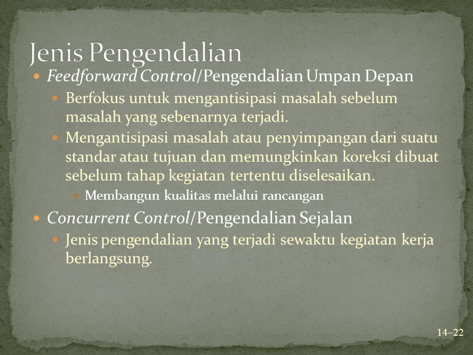 Feedforward Control/Pengendalian Umpan Depan Berfokus untuk mengantisipasi masalah sebelum masalah yang sebenarnya terjadi. Mengantisipasi masalah ata