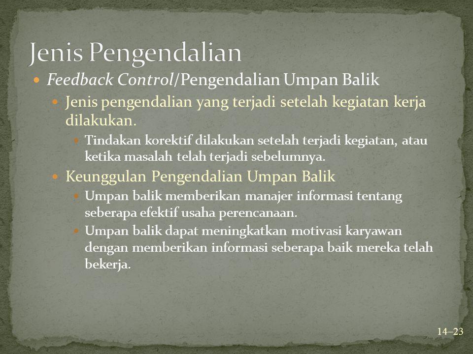 Feedback Control/Pengendalian Umpan Balik Jenis pengendalian yang terjadi setelah kegiatan kerja dilakukan. Tindakan korektif dilakukan setelah terjad