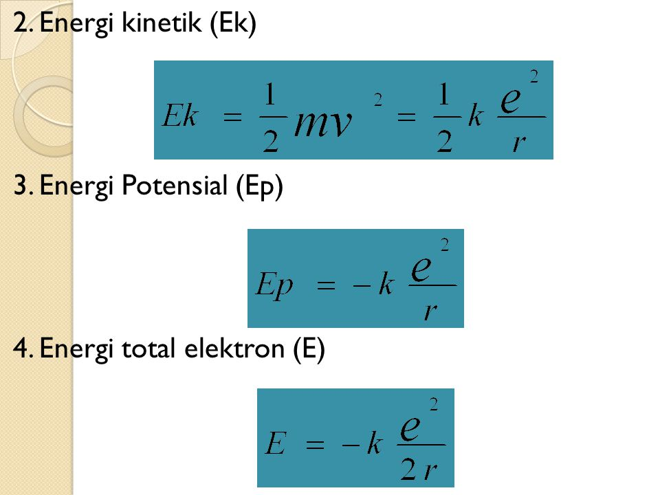 2. Energi kinetik (Ek) 3. Energi Potensial (Ep) 4. Energi total elektron (E)
