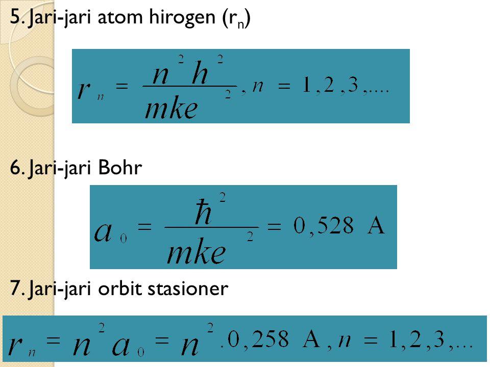 5. Jari-jari atom hirogen (r n ) 6. Jari-jari Bohr 7. Jari-jari orbit stasioner