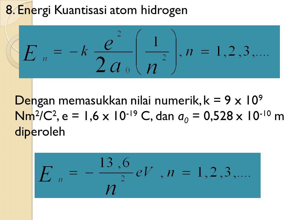 8. Energi Kuantisasi atom hidrogen Dengan memasukkan nilai numerik, k = 9 x 10 9 Nm 2 /C 2, e = 1,6 x 10 -19 C, dan a 0 = 0,528 x 10 -10 m diperoleh