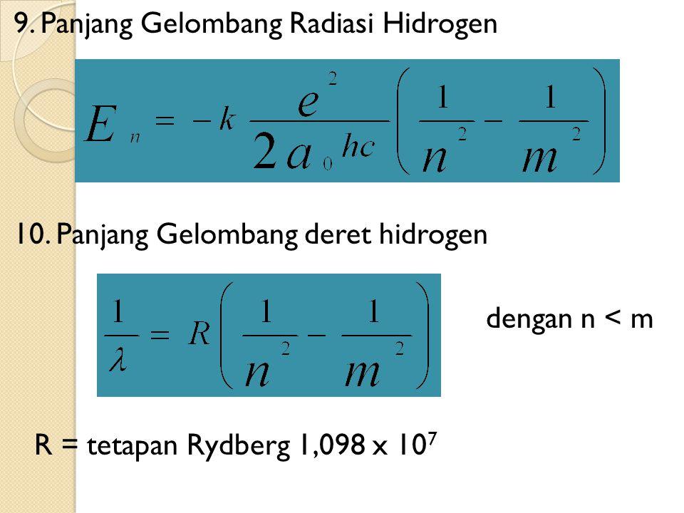 9.Panjang Gelombang Radiasi Hidrogen 10.