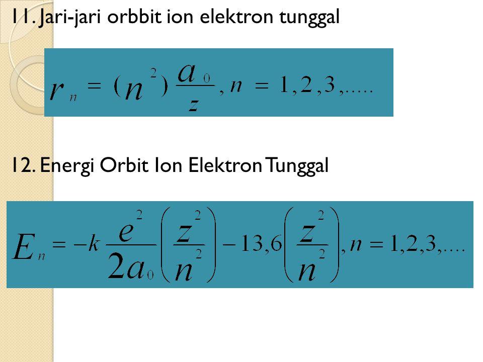 11. Jari-jari orbbit ion elektron tunggal 12. Energi Orbit Ion Elektron Tunggal