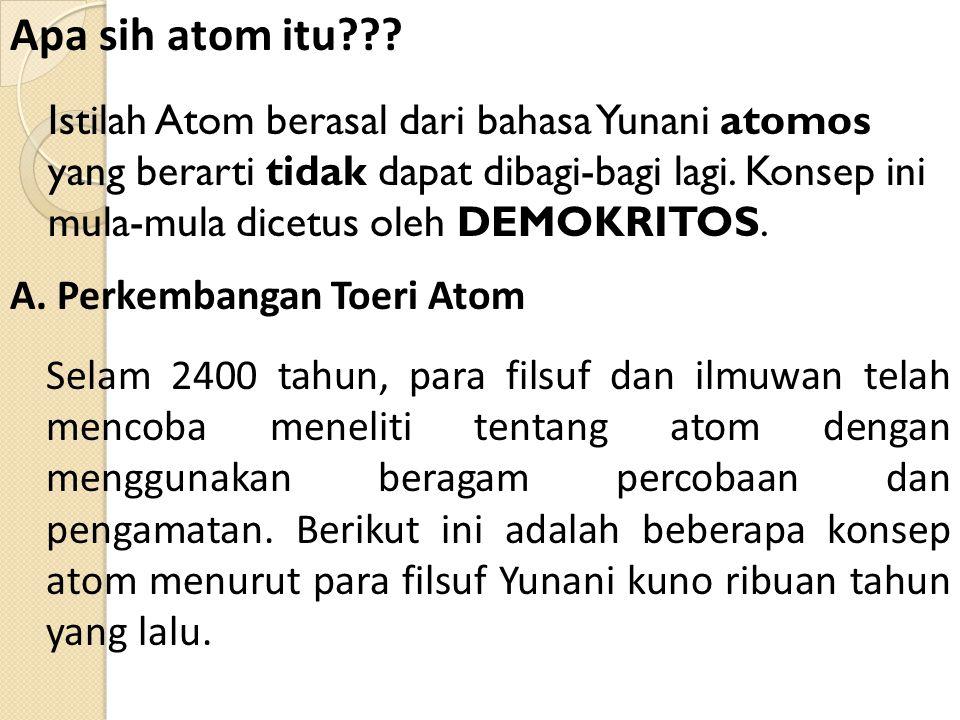 Istilah Atom berasal dari bahasa Yunani atomos yang berarti tidak dapat dibagi-bagi lagi.