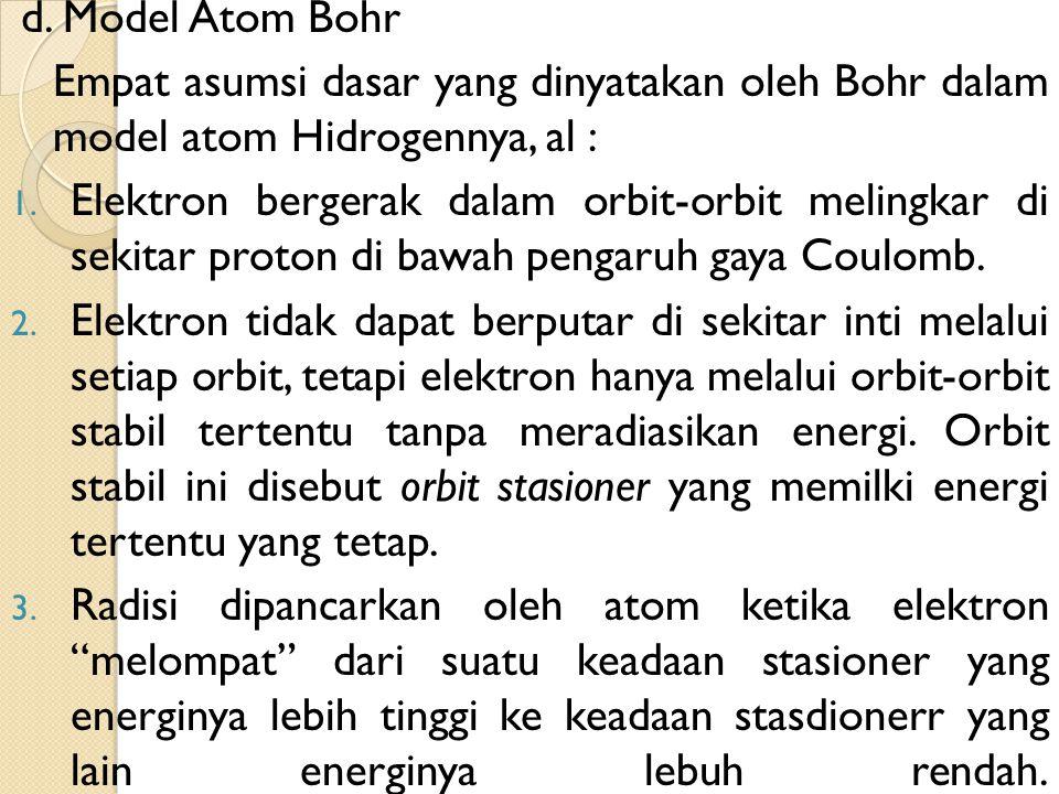 d. Model Atom Bohr Empat asumsi dasar yang dinyatakan oleh Bohr dalam model atom Hidrogennya, al : 1. Elektron bergerak dalam orbit-orbit melingkar di